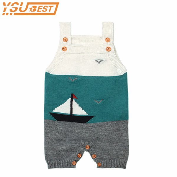 Baby Knitted Clothes Little Girls Summer Romper Cute Sleeveless Toddler Boys One Piece Jumpsuits Infant Kids Overalls J190514