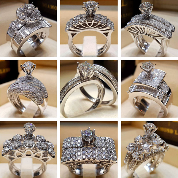 Good Quality Diamond Crystal Rings Cubic Zirconia Rings Hot Selling Wedding Ring Set Fashion Silver Rings Designer Jewelry Lovers Gift
