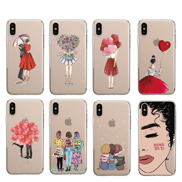 Fashion Cool Girl Retro Cover Lovely Cartoon Letter Soft Clear Phone Case For iPhone 5 7 7Plus 6 6S XS Max Samsung S10 S10Plus