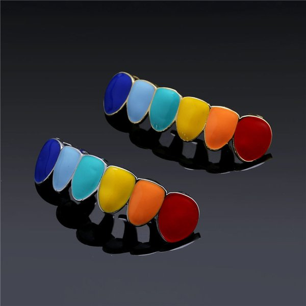 Hip Hop Rainbow Gold Silver Teeth Grillz Top & Bottom Grills Dental Mouth Cosplay Party Tooth Punk Body Jewelry Gifts