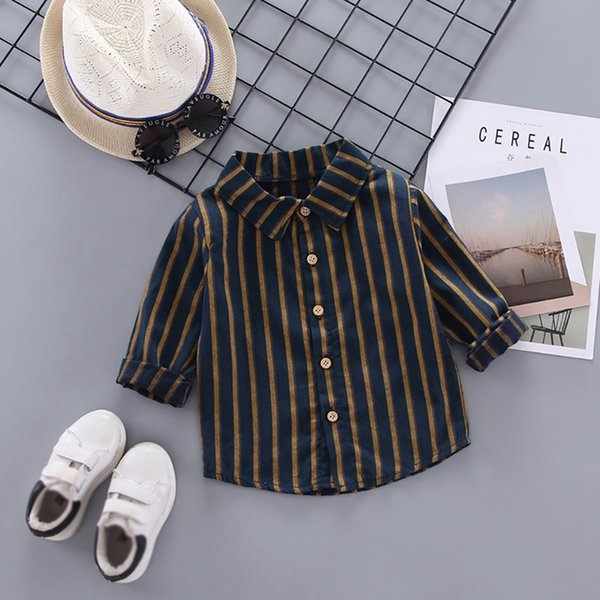 top popular Baby Boy 0-4T New Autumn Cute Toddler Baby Boys Long Sleeve Striped Print Shirts Kids Tops Blouse Casual Blouse 2021