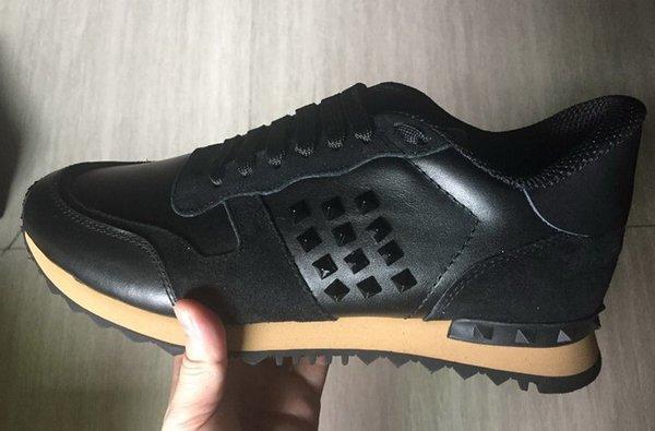 Nuevo Top Fashion Stud Zapatillas de deporte de camuflaje Calzado Mujeres Pisos Diseñador de lujo Rockrunner Entrenadores Hombres Zapatos casuales 5dfz X