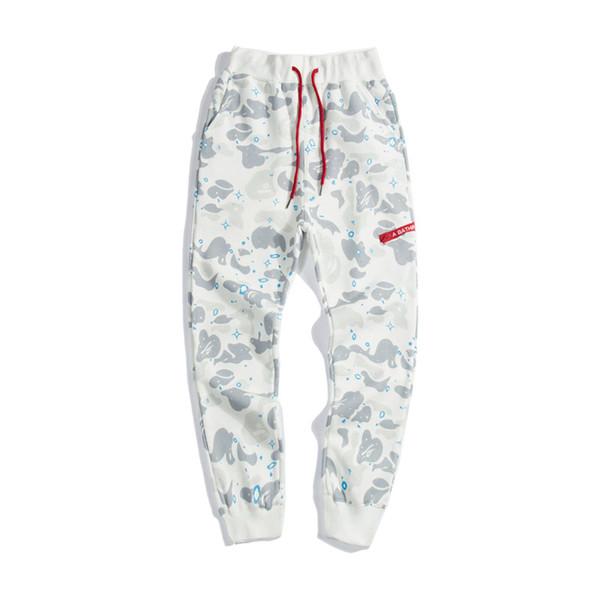 Bahar Atumn Yeni Erkek Starry Kamuflaj Günlük Pantolon Severlerin Siyah Beyaz ışık Gevşek Hip Hop Pantolon Ücretsiz Kargo