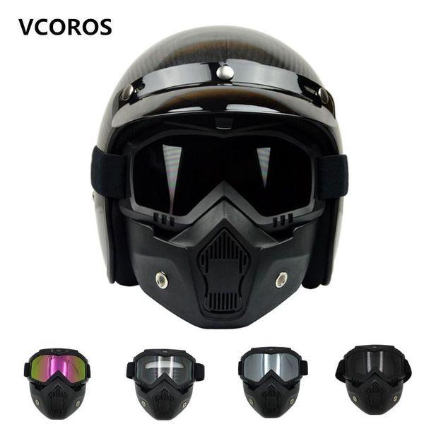Nova VCOROS Máscara Modular Destacável Óculos E Boca Filtro Perfeito para a Face Aberta do vintage Capacetes Da Motocicleta máscara Coolplay