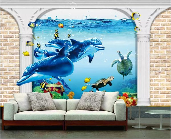 WDBH 3d wallpaper custom photo Dolphin Seascape Roman Column background wall living room home decor 3d wall murals wallpaper for walls 3 d