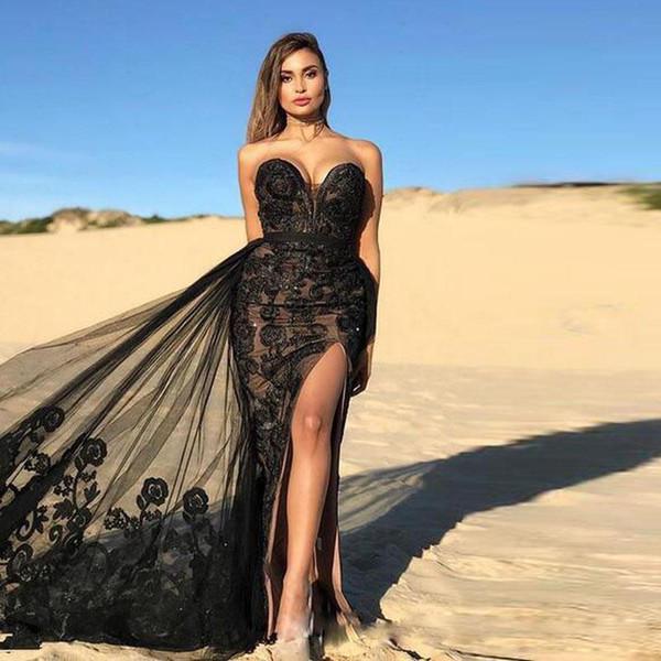 2019 Zuhair Murad Sexy Côté Noir Robes De Soirée Fendue Robe De Bal De Dentelle Appliques De Bal avec Train Détachable Robe De Cocktail De Balayage À Paillettes