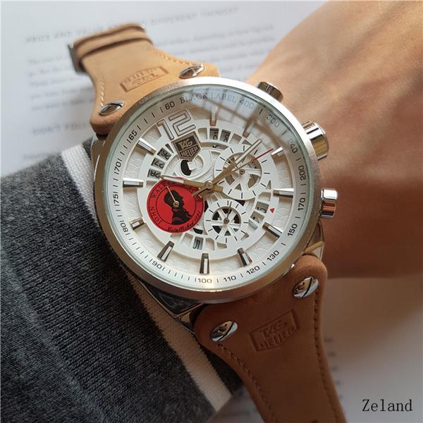 ETIKETI izle Çalışma saniye kuvars hareketi çapı 44mm Kol marka adam Izle Lüks su geçirmez kronometre chronograph Saatı