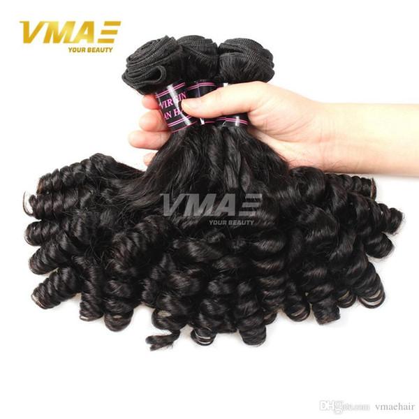 100% all'ingrosso dei capelli non trattati Virgin Funmi linea 3 pacchi Virgin umani brasiliani Duchessa arricciatura naturale nero Hair Extension