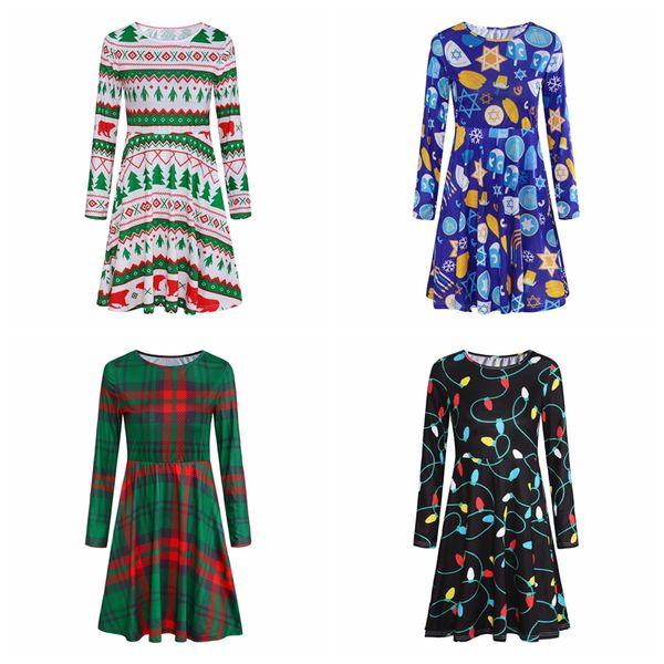 2019 new Christmas Dress New Year Festival Family Party Dress Women Snowflake Print Long Sleeve skirts