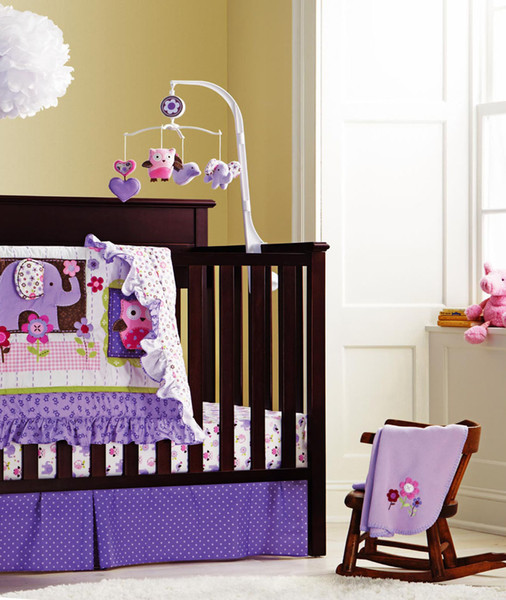 Purple Baby girl bedding set 8Pcs Cot bumper set for Newborn Crib bedding set Embroidery elephant owl cotton include Quilt Bumper bed Skirt