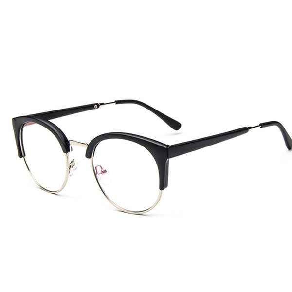 2019 Hot Fashion Cat Eye Half Frame Metal Anti-Radiation Goggles Plain Glass Spectacles 10 colors