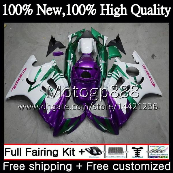 Corpo per HONDA CBR600RR F3 CBR600FS CBR 600 F3 97 98 48PG12 CBR 600F3 FS CBR600F3 Viola bianco CBR600 F3 1997 1998 Kit carrozzeria carenatura