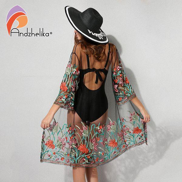 Andzhelika New Bikini Ups Women Sexy Dress Floral Mesh Crochet Beachwear Summer Swimwear Bathing Swimsuit Cover Up Q190521