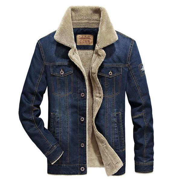 Mens Thick Fur Jean Denim Thick Fur Fleece Western Cowboy Jackets Coats Outwears