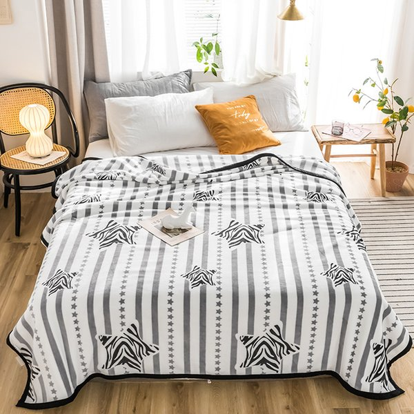 Star High quality Thicken plush bedspread blanket 200x230cm High Density Super Soft Flannel Blanket for the sofa/Bed/Car