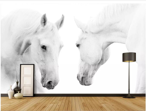 WDBH 3d photo wallpaper custom mural White horse photography background wall painting Home decor living room wallpaper for walls 3 d