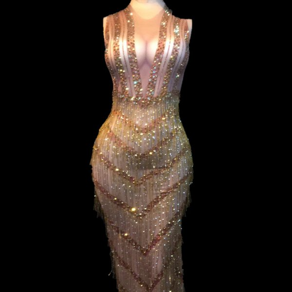 Le donne Sexy Stage Wear Bling Long Dress Oro Nappa scintillante Cristalli Costumi Nightclub Wedding Party Stage Dance Costumes