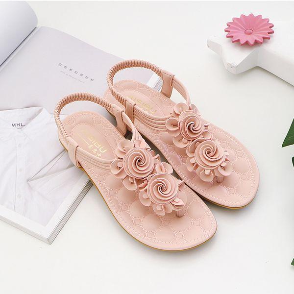 Sandálias planas das mulheres de verão nova 2019 versão coreana da fivela plana doce com sandálias das mulheres casuais tamanho grande