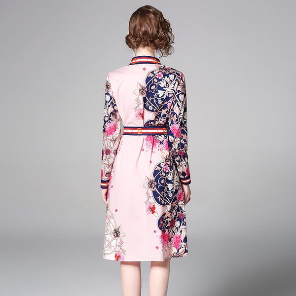 4daf3bceb95b Women Shirt Dress Elegant Pink Dress Floral Print Long Sleeve Haute Douture  Lapel Neck Dinner Party