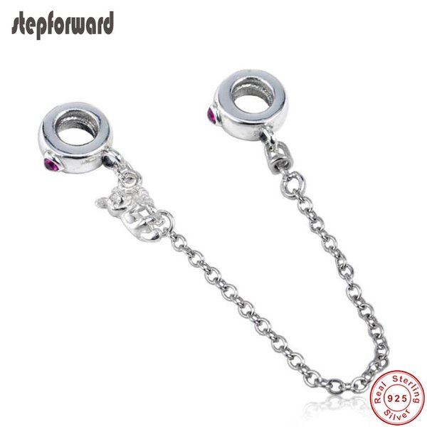 Popular High Quality 925 Real Silver Climbing Mickey Safety Chain For Bracelet