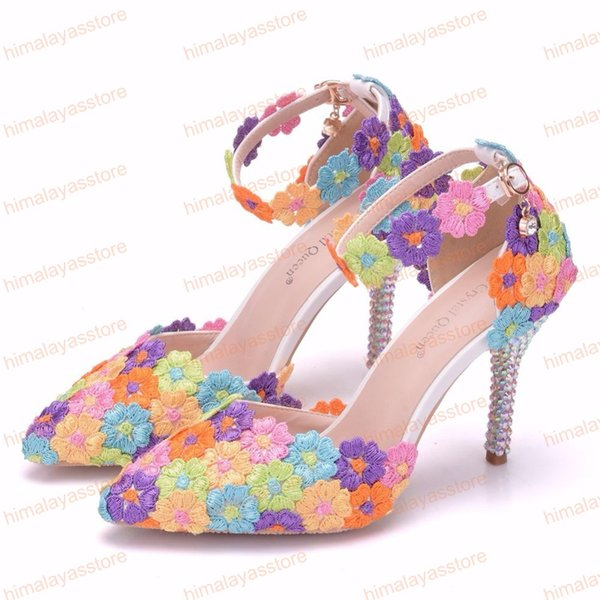 2019 Hot Sell Multicolour Rhinestone Lace Flower Bride Dress Shoes High Heel Wedding Party Shoes With Ankle Strap Bridesmaid