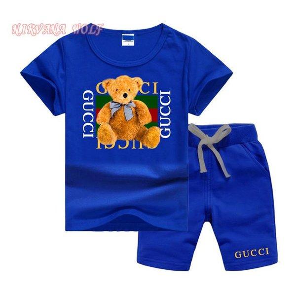Lüks Gooch Logo Lüks Tasarımcı Çocuk Takım Elbise Erkek Pamuk Giyim Kız T-shirt ve Şort 1-7 Yaşında Spor Setleri Kısa Kollu Printi