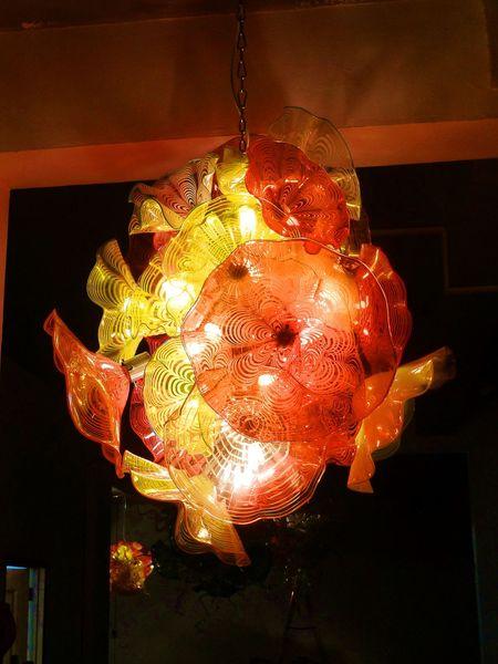 Murano Италия Art Люстра для отеля Декор в деревенской хрустальной люстре сшитая вручную выдувного Gold Glass Подвесных ламп