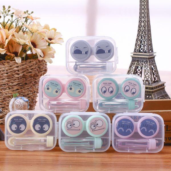 Plastic Contact Lens Case Cartoon Pet Printed Container Transparent Pocket Contact Lens Case Holder Makeup Case GGA2701
