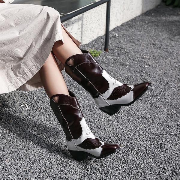 2019 Зимние новые классические западные Cowboy Boots для женщин Заостренный Toe кожаные сапоги пастушка квадратные каблуки обувь женщина середины икр