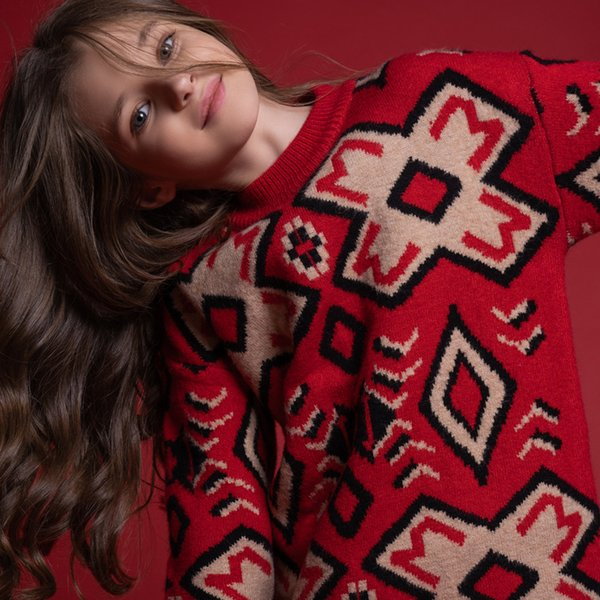 Big Girl Clothes New Year Christmas Red Print Sweater For Kids Girls Winter Sweaters Thick Warm Tops Autumn Winter 8 16 Years Knitting Patterns For