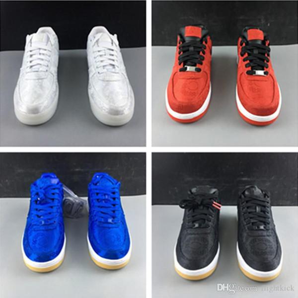 Et avec la boîte Stock X Clot x 1 Premium Forcé Soie Jeu Bleu Royal Blanc Hommes Femmes Chaussures Skateboard Bas