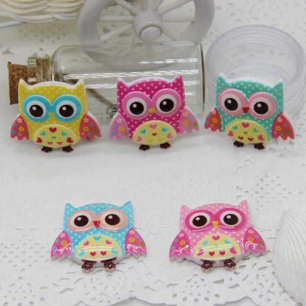 Home & Garden New Arrival 30pcs 30*34mm Mix color Resin flatback cabochon Cute Cartoon Owl Design for DIY Hair Bows Accessories 210354