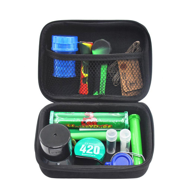 Formax420 Kits Pipes Set With Herb Grinder 12Pieces Honeypuff Glass Cup Bowl Container Storage Case Roller Smoking Carry Zipper Bag DHL