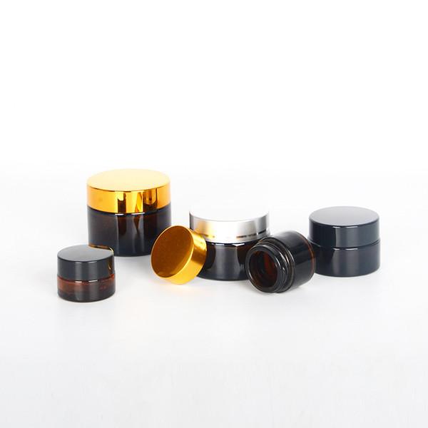 Barattoli di vetro rotondi ambra vuoti 10/20/30 / 50ml, contenitori di vetro di fascia alta Flacone di vetro crema, rivestimenti interni bianchi e coperchio oro / argento / nero