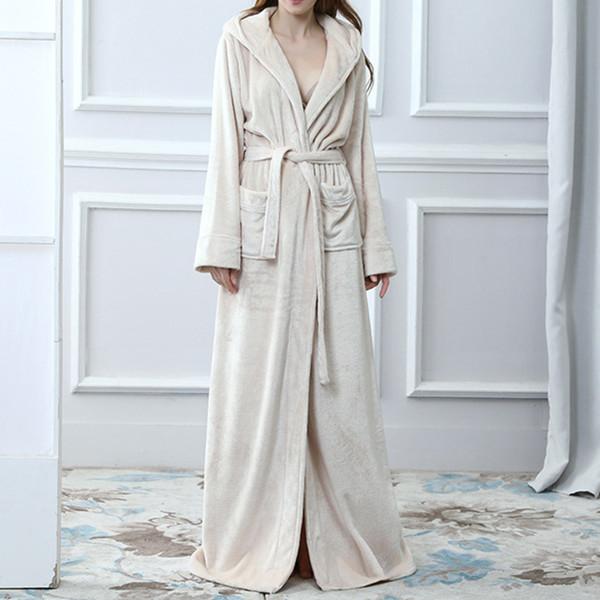Albornoz con capucha gruesa cálida extra larga de invierno Bata de baño de manga larga sexy Bata unisex Bata femenina femme