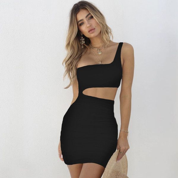 top popular Sexy Sloping One Shoulder Dress Solid Color Hollow Hip Wrap Dresses Mini Skirt Women dresses Fashion Clothes will and sandy Black Red White 2021