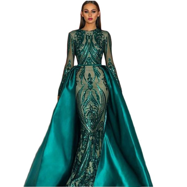 Elegante Rendas Árabe Longos Vestidos de Noite Com Trem Destacável Lantejoula Bling Verde vestidos de Noite para as mulheres vestido Formal