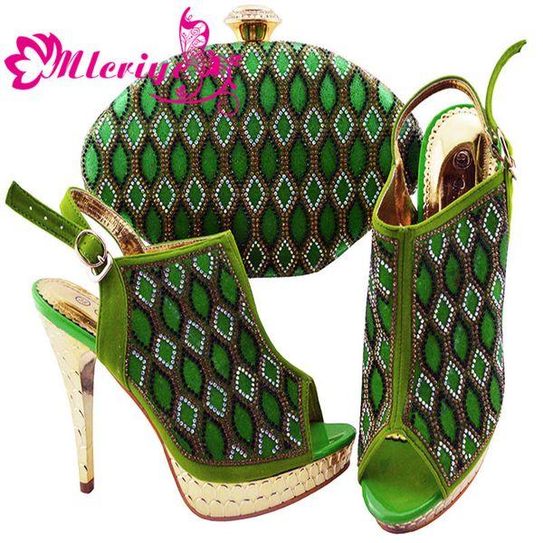 JZC003-GREEN Italian Shoes with Matching Bags 2019 Shoes Woman High Heel Luxury Women Nigerian Women Wedding Shoes with Rhinestone