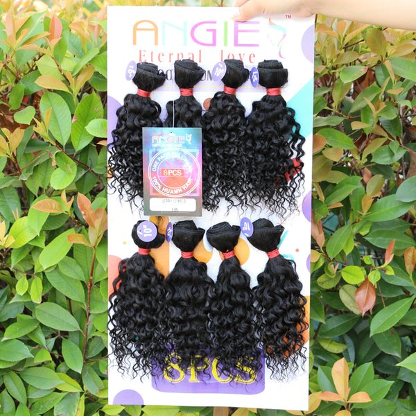 Humano Kinky Curly Crochet Hair Extensions 8 Peças / lote Afro Jerry Curl Hair 1Pack Full Head emaranhado livre Weave Natural Wave Costurar no cabelo trama