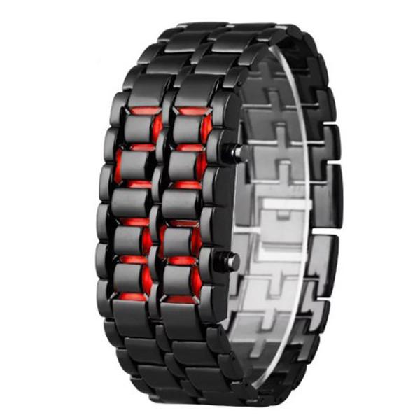 Мужчины светодиодные цифровые часы Лава железо самурай часы мужчины черный нержавеющая сталь светодиодные электронные часы Спорт reloj hombre