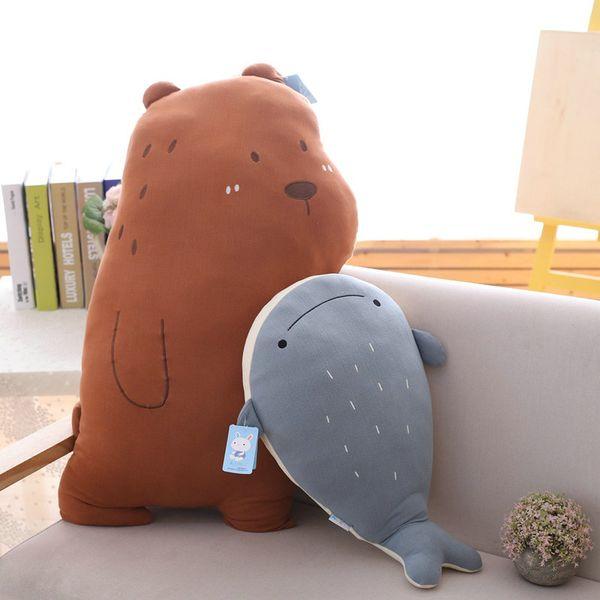 Cartoon Brown Bear Stuffed Pillow high quality Blue whale white Bird Fox plush throw Pillow Home sofa decoration Gift for girl