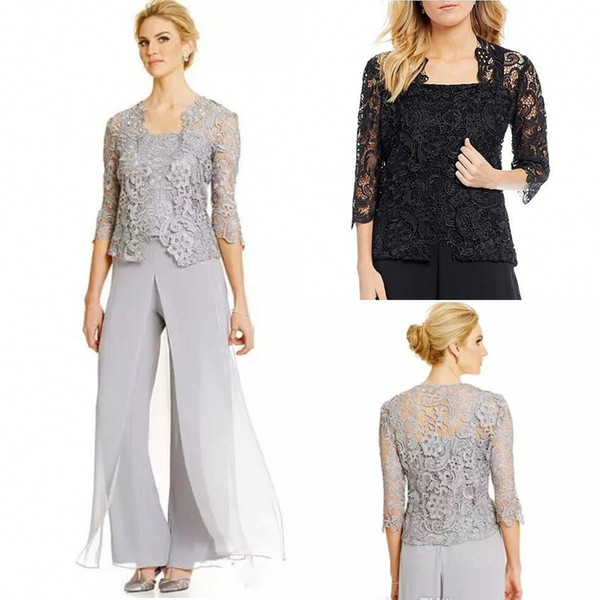 Vintage Silver Three Pieces Mother Of The Bride Groom Dresses With Pants Suits Long Sleeve Lace Jacket Mother Of The Bride Suits