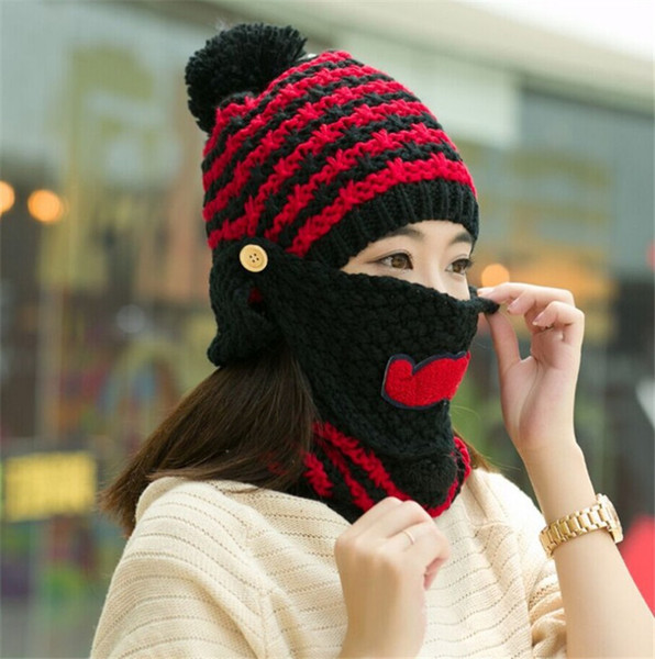 2 Pieces Set Winter Beard Knitted Hat Scarf Set For Women Warm Moustache Suit Girl Wool Hats Thicken Scarves Beanie Knitted Caps Crochet
