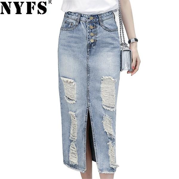 2e4dfd74eb2dc7 Acheter Nyfs 2019 Printemps Été Automne Mode Femmes Longue Jupe En Jean  Casual Plus La Taille Maxi Jupes Vintage Jeans Hem Split Crayon Jupes ...