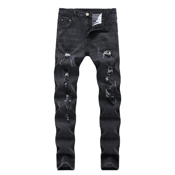KANCOOLD Crayon Pantalons personnalité de la mode Ripped Skinny Jeans hommes Midweight Zipper en denim extensible plat Pantalon Crayon D23