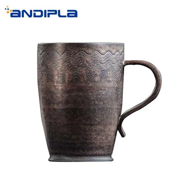 200 ml / 210 ml tasse en céramique vintage à la main de la bière grossière art eau tasses maître tasse de café petit déjeuner poignée de lait tasses verres