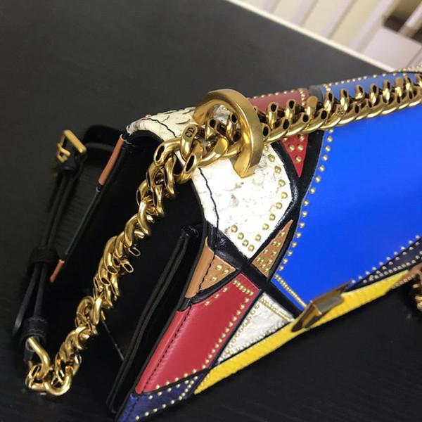 Designer Handbags Women's Hand Shoulder Diagonal Bag Color Snakeskin Patchwork Bag Vintage Gold Metal Accessories Early Spring New Luxu