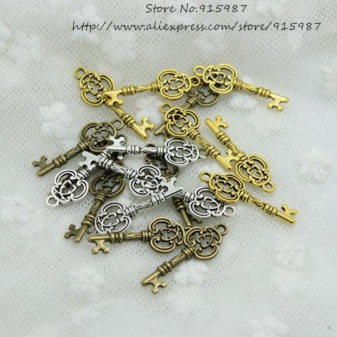 Sweet Bell 100pcs 10*27mm Three Color Vintage Metal Alloy Keys Jewelry Charms Jewelry Pendant Fit Jewelry Making Pendants 2B163