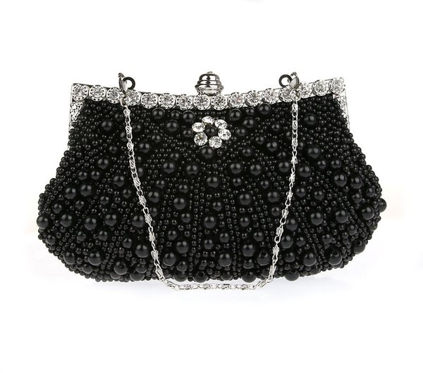 Women Pearl Evening Bag Ladies ChainWedding Clutches Female Pink Black Clutch Purse
