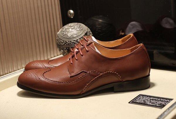Avrupa ve Amerikan Lüks Erkek Gentleman Oxfords Sürücü Yeni Lace Up Casual Gerçek Deri Düğün Ayakkabı Boyutu 38-45